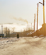 Morning street scene in wintery Irkutsk, Siberia, Russia