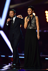 Presenters Emma Willis and Dermot O'Leary on stage at the Brit Awards at the O2 Arena, London.