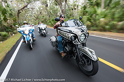 Jake Cutler (R) and Tim Sutherland (L) riding their custom Indian Chieftains during Daytona Beach Bike Week. FL. USA. Monday March 13, 2017. Photography ©2017 Michael Lichter.