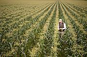 Farmer Inspecting the corn crop on a King Ranch farm in Florida.