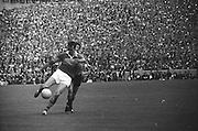 All Ireland Senior Football Championship Final, Kerry v Down, 22.09.1968, 09.22.1968, 22nd September 1968, Down 2-12 Kerry 1-13, Referee M Loftus (Mayo)..Kerry forward gets in his kick ,