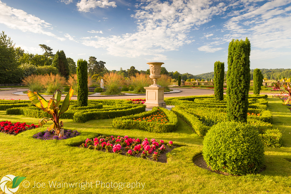 A view over the formal Upper Flower Garden at Trentham Gardens, Staffordshire. Planting includes Pelargoniums, Begonias, Stipa gigantea, Buxus,  and fastigate Irish yews