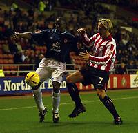 Photo. Andrew Unwin. Digitalsport<br /> Sunderland v Wolverhampton Wanderers, Coca-Cola Championship, Stadium of Light, Sunderland 02/11/2004.<br /> Wolverhampton's Shaun Newton (L) is put under pressure by Sunderland's Liam Lawrence (R).