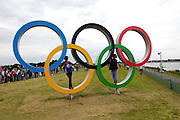 UK, August 1 2012: Dorcus and Lorna pose on the Olympic Rings at the London 2012 Rowing venue at Eton Dorney.  Copyright 2012 Peter Horrell.