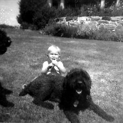 HS685  Baby George W. Bush with dogs at Walker's Point, Kennebunkport, ME,<br /> circa Spring 1947.<br /> Photo Credit:  George Bush Presidential Library