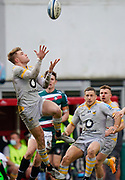 Wasps Fly-half Charlie Atkinson prepares to catch a high ball during a Gallagher Premiership Round 10 Rugby Union match, Friday, Feb. 20, 2021, in Leicester, United Kingdom. (Steve Flynn/Image of Sport)