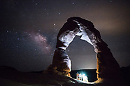 Delicate Arch, Utah, lit by a group of sightseers well after sunset. Picture by Andrew Tobin.
