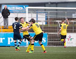 Edinburgh City's Lewis Allan celebrates after scoring their second goal. Forfar Athletic 1 v 2 Edinburgh City, Scottish Football League Division Two played 11/3/2017 at Station Park.