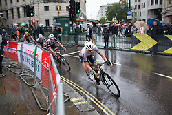Amalie Dideriksen (DEN) of Boels-Dolmans Cycling Team leans into a corner in the eigth lap of the Prudential Ride London Classique - a 66 km road race, starting and finishing in London on July 29, 2017, in London, United Kingdom. (Photo by Balint Hamvas/Velofocus.com)