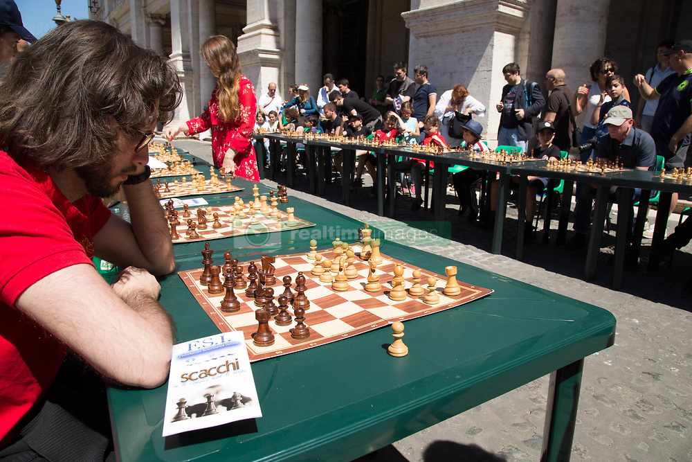May 28, 2017 - Rome, Italy - A chess competition organized by the Italian Scacchistic Federation in collaboration with the Department of Sport, Youth Policy and Grand Events were hundreds of players participates the event. (Credit Image: © Matteo Nardone/Pacific Press via ZUMA Wire)