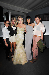 Centre, AMANDA HOLDEN and Geneva Lane, Esther Campbell, Rebecca Creighton and Sophia Wardman of 'Belle Amie' at the Collars & Coats Gala Ball celebrating 150 years of Battersea Dogs & Cats Home held at Battersea Power Station, London on 25th November 2010.
