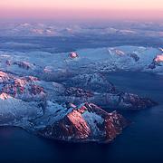 Aerial view of Lofoten, Norway, Europe