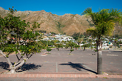 An empty beach parking lot in Gordon's Bay, in the Western Cape, South Africa, on Saturday, April 18, 2020. The South African government has shut down the country in response to Coronavirus, asking everyone but essential workers to stay home. PHOTO: EVA-LOTTA JANSSON<br /> [This is one is a series of landscapes shot in the Western Cape, South Africa, during the national ockdown in response to the Coronavirus.]