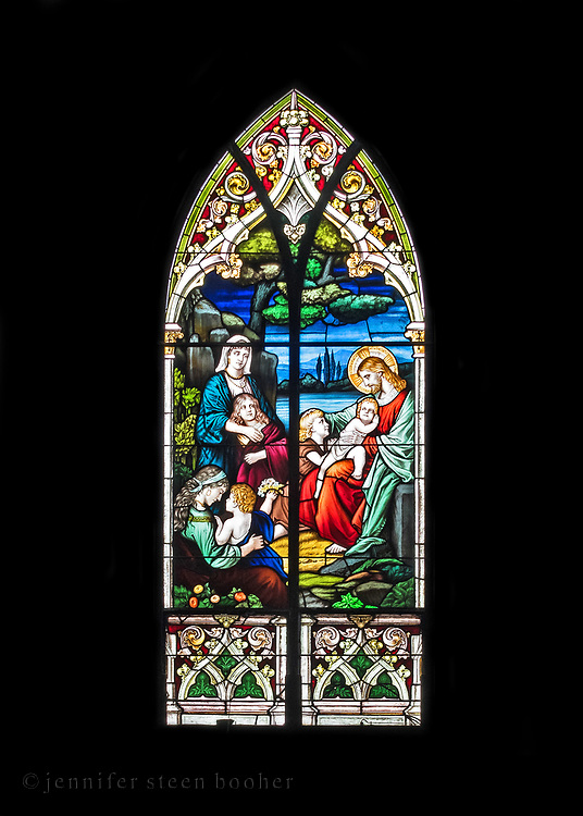 """Window 7 on plan. 55""""w x approx. 120""""h.<br /> <br /> Based on a painting by Bernhard Plockhorst (1825-1907). <br /> <br /> Holy Redeemer Catholic Church, Bar Harbor, Maine."""