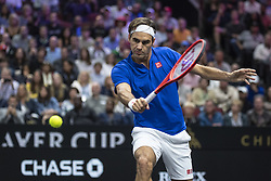September 22, 2018 - Chicago, Illinois, U.S - Team Europe member ROGER FEDERER of Switzerland hits a backhand during the second singles match between Team Europe and Team World on Day Two of the Laver Cup at the United Center in Chicago, Illinois. (Credit Image: © Shelley Lipton/ZUMA Wire)