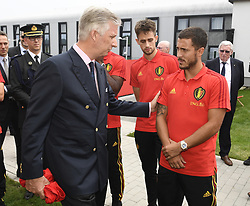 June 9, 2018 - Tubize, BELGIUM - King Philippe - Filip of Belgium talks to Belgium's Eden Hazard next to Belgium's Adnan Januzaj at a Royal visit to a training session of the Belgian national soccer team Red Devils, Saturday 09 June 2018, in Tubize. The Red Devils started their preparations for the upcoming FIFA World Cup 2018 in Russia...BELGA PHOTO POOL PHILIPPE CROCHET (Credit Image: © Pool Philippe Crochet/Belga via ZUMA Press)
