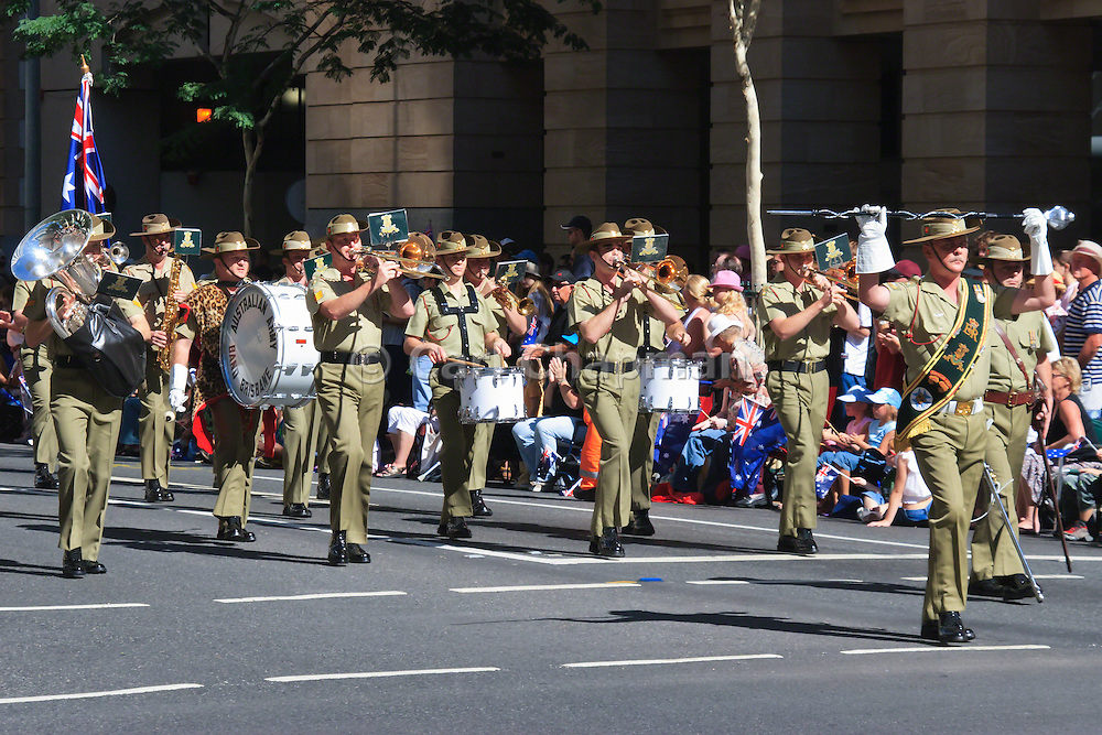Australian Army band marches during Brisbane ANZAC day 2005 parade <br /> <br /> Editions:- Open Edition Print / Stock Image