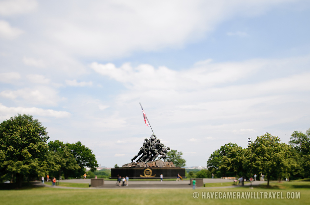 Iwo Jima Marine Corps Memorial in Arlington, VA, using tilt-shift. NB: This is using tilt-shift photographic technique and has a very narrow field of focus.