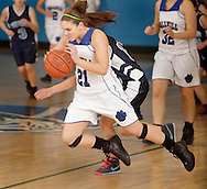 Wallkill's Shelby Brochetti (21) starts to fall after being fouled by a Pine Plains player during a game in Wallkill on Friday, Feb. 12, 2010.
