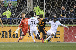 October 8, 2018 - Seattle, Washington, U.S - Seattle goal keeper STEFAN FREI (24) and NOUHOU (5) saves a late 2nd half shot by Houston's ERIC BIRD (25) as the Houston Dynamo visits the Seattle Sounders in a MLS match at Century Link Field in Seattle, WA. Seattle won the match 4-1. (Credit Image: © Jeff Halstead/ZUMA Wire)