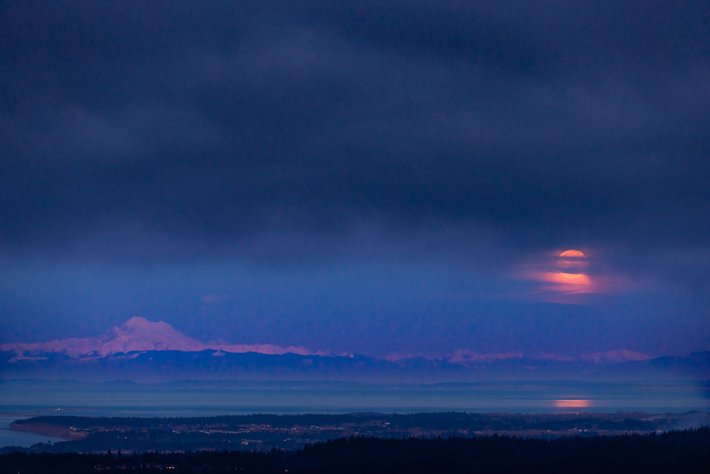 Mount Baker, moonrise, winter, January 1, 2018, view from Mount Pleasant, North Olympic Peninsula, WA, USA