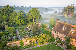 The Rose Garden seen from the Tower at Sissinghurst Castle Garden at dawn