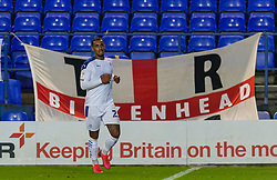 BIRKENHEAD, ENGLAND - Tuesday, September 29, 2020: Tranmere Rovers' Stefan Payne celebrates after scoring the winning third goal during the EFL Trophy Northern Group D match between Tranmere Rovers FC and Liverpool FC Under-21's at Prenton Park. Tranmere Rovers won 3-2. (Pic by David Rawcliffe/Propaganda)