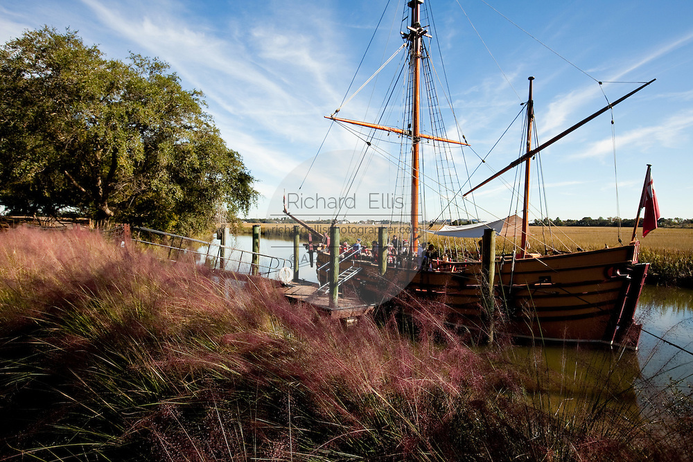 A working reproduction of the 17th century coastal trader the Adventure at historic Charles Towne Landing, the original settlement of Charleston, SC where English settlers established the city in 1670. The site is now a state park and historic site.