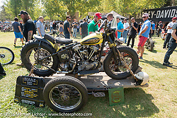 BF8 Invited builder Jeremiah Armenta's Love Cycles 1940 Harley-Davidson Knucklehead hillclimber ready to race as it is loaded into a Knucklehead sidecar at the Born Free Motorcycle Show-8 at Oak Canyon Ranch. Silverado, CA, USA. Saturday June 25, 2016.  Photography ©2016 Michael Lichter.