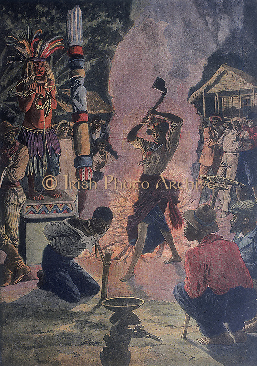 Human sacrifice during Voodoo ceremony, La Fayette, Louisiana, U.S.A.. Woman accused of killing 16 people, claimed in her defence that she was a High Priestess and was performing a religious rite. From 'Le Petit Journal', Paris, 21 April 1912. Voodoo, a mixture of African religions and Roman Catholicism.