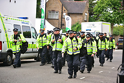 © Licensed to London News Pictures. 29/08/2016. London, UK. A heavy police presence as Carnival goers enjoy day two of the Notting Hill carnival, the second largest street festival in the world after the Rio Carnival in Brazil, attracting over 1 million people to the streets of West London.  Photo credit: Ben Cawthra/LNP