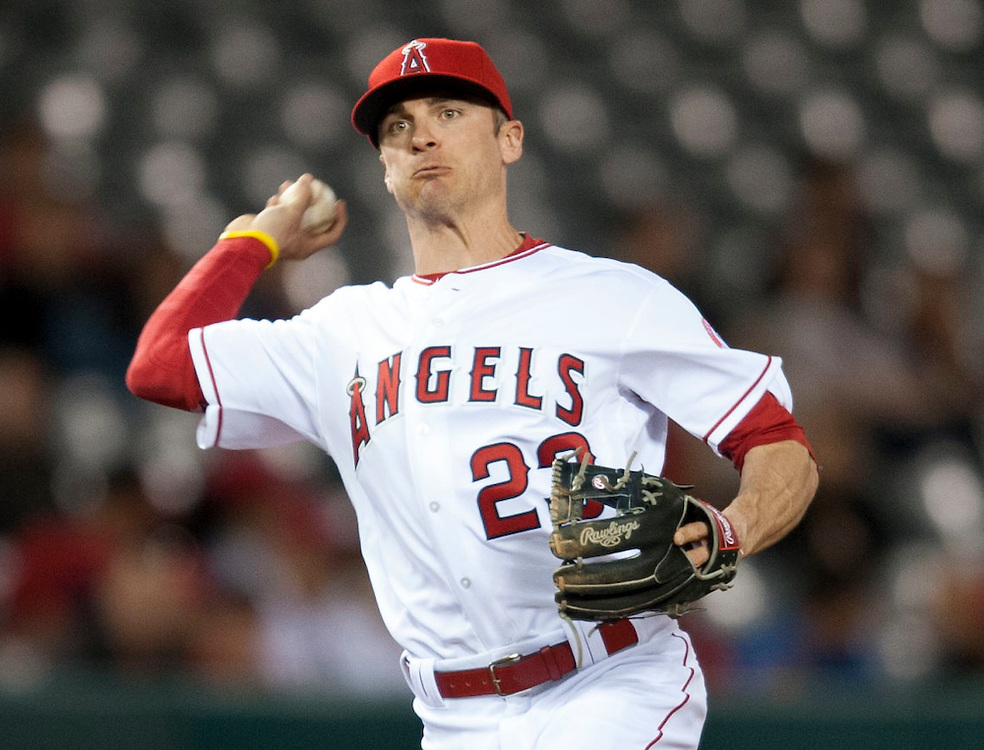 New Angel Brendan Ryan got into the game in the ninth inning during the Angels' 8-1 loss to the St Louis Cardinals Tuesday at Angel Stadium.<br /> <br /> ///ADDITIONAL INFO:   <br /> <br /> angels.0511.kjs  ---  Photo by KEVIN SULLIVAN / Orange County Register  --  5/10/16<br /> <br /> The Los Angeles Angels take on the St. Louis Cardinals at Angel Stadium Tuesday.<br /> <br />  5/10/16