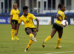 October 12, 2018 - Edinburgh, Scotland, United Kingdom - Edinburg, NC - OCTOBER 11: 2018.Khadija Shaw of Jamaica.During CONCACAF Women's Championship Group B match between Cuba against Jamaica at H-E-BPark Stadium, Edinburg,  on October 11, 2018  (Credit Image: © Action Foto Sport/NurPhoto via ZUMA Press)