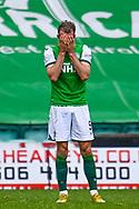 Christian Doidge (#9) of Hibernian FC has his head in his hands during the SPFL Premiership match between Hibernian and St Johnstone at Easter Road Stadium, Edinburgh, Scotland on 1 May 2021.