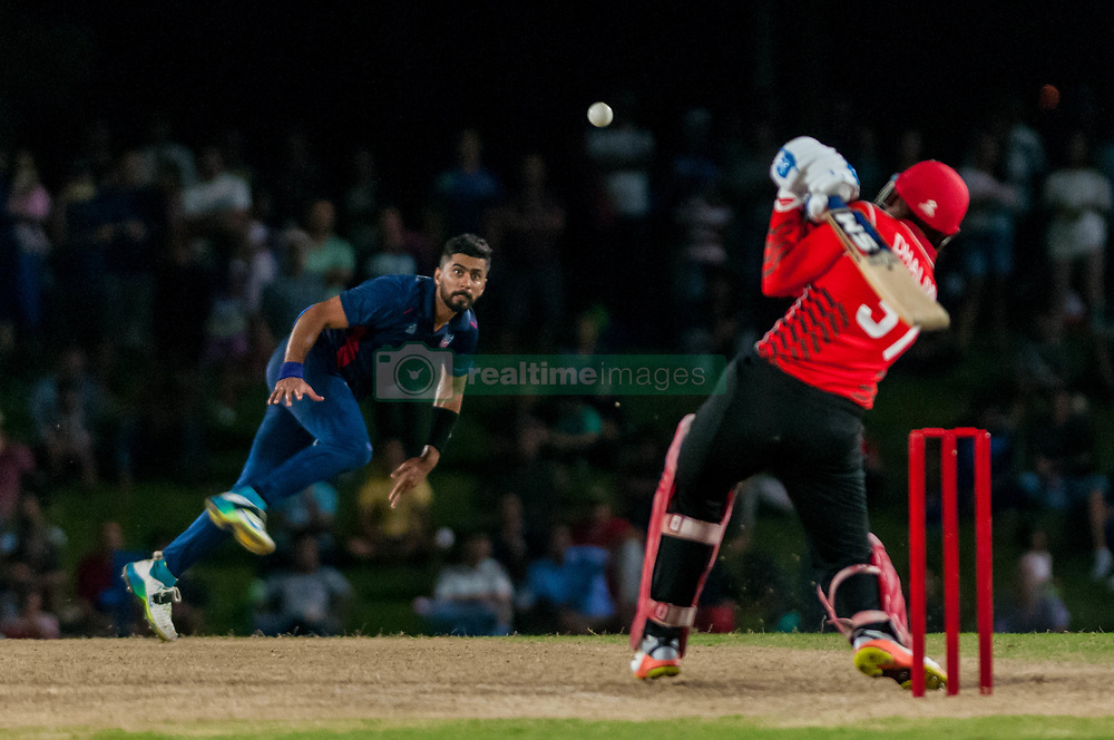 September 22, 2018 - Morrisville, North Carolina, US - Sept. 22, 2018 - Morrisville N.C., USA - Team USA MUHAMMAD ALI KHAN (47) delivers in the Super Over during the ICC World T20 America's ''A'' Qualifier cricket match between USA and Canada. Both teams played to a 140/8 tie with Canada winning the Super Over for the overall win. In addition to USA and Canada, the ICC World T20 America's ''A'' Qualifier also features Belize and Panama in the six-day tournament that ends Sept. 26. (Credit Image: © Timothy L. Hale/ZUMA Wire)
