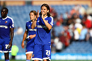 Lasse Vibe of Brentford  applauds the supporters after the game. Skybet football league championship match, Burnley  v Brentford at Turf Moor in Burnley, Lancs on Saturday 22nd August 2015.<br /> pic by Chris Stading, Andrew Orchard sports photography.