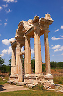 """Picture of the double Tetrapylon Gate, Aphrodisias, Turkey. A tetrapylon (Greek: Τετράπυλον, """"four gates"""") is an ancient type of Roman monument of cubic shape, with a gate on each of the four sides: generally it was built on a crossroads. stock photos & photo art prints. 6"""