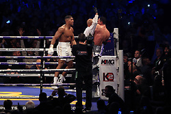 29 April 2017 - Boxing - Anthony Joshua v Wladimir Klitschko (IBF and WBA heavyweight) - The Referee steps in to end the fight - Photo: Marc Atkins / Offside.