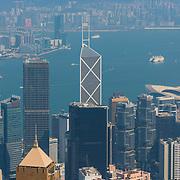Hong Kong island skyscrapers and the bay