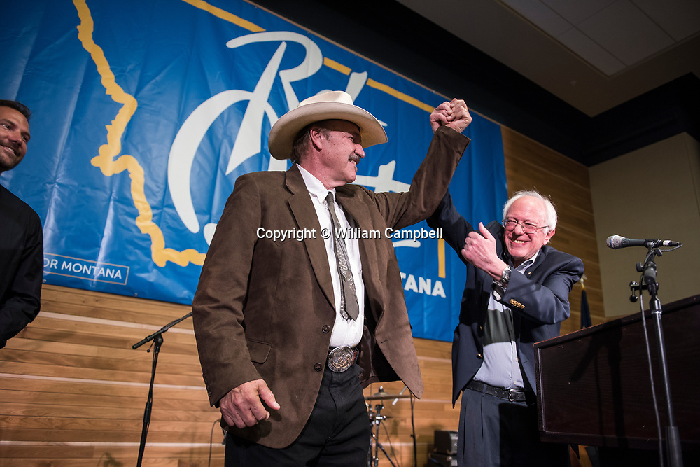 BOZEMAN, MT - MAY 21: Democrat Rob Quist campaigns with Senator Bernie Sanders (I-VT) at the Montana State University in Bozeman, MT on May 21,2017. Sanders was campaigning with Quist for two days across Montana. Quist is running against Republican Greg Gianforte in the special election to be held on May 25th for Montana's lone House seat vacated by the appointment of Ryan Zinke to head the Department of the Interior. (Photo by William Campbell/Corbis via Getty Images)