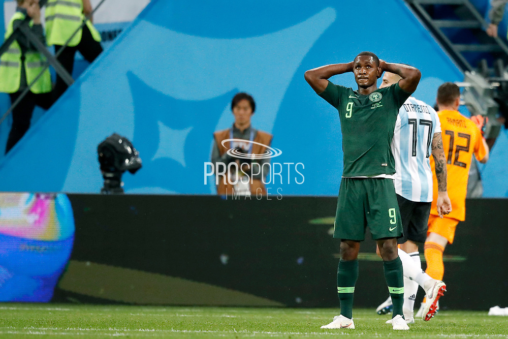 Nigeria forwarder Odion Ighalo (R) dejected during the 2018 FIFA World Cup Russia, Group D football match between Nigeria and Argentina on June 26, 2018 at Saint Petersburg Stadium in Saint Petersburg, Russia - Photo Stanley Gontha / Pro Shots / ProSportsImages / DPPI
