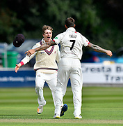 Wicket - Peter Trego of Somerset celebrates taking the wicket of Haseeb Hameed of Lancashire with Tom Abell of Somerset during the Specsavers County Champ Div 1 match between Somerset County Cricket Club and Lancashire County Cricket Club at the Cooper Associates County Ground, Taunton, United Kingdom on 13 September 2017. Photo by Graham Hunt.