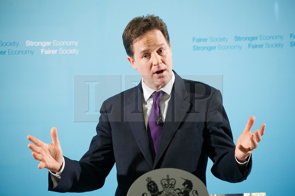 © licensed to London News Pictures. London, UK 31/03/2014. Deputy Prime Minister Nick Clegg holding a Q&A session with journalists at Dover House, London on Monday, 31 March 2014. Photo credit: Tolga Akmen/LNP