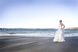 July 21, 2019 - Woman In Wedding Dress On Beach (Credit Image: © Caley Tse/Design Pics via ZUMA Wire)
