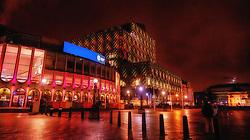 Exterior of Birmingham Repertory Theatre in Centenary Square by night.<br /> <br /> (c) Andrew Wilson | Edinburgh Elite media