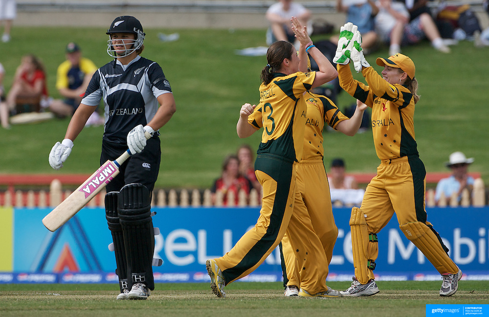 Australia celebrate the wicket of Rachel Priest during the Australia V New Zealand group A match at North Sydney Oval in the ICC Women's World Cup Cricket Tournament, in Sydney, Australia on March 8, 2009. New Zealand beat Australia by 13 runs in the (D/L method)  rain affected match. Photo Tim Clayton