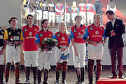 Moscow, Russia, 20/09/2003..The opening day of the Moscow Polo Club, featuring the Russian Polo Cup 2003, the first event of its kind in Russia since the 1917 Bolshevik revolution. Vladlena Bernardoni-Belolipskaya, the only Russian competitor, with players from Mexico, India, Brasil, Italy, France, Argentina & Great Britain..
