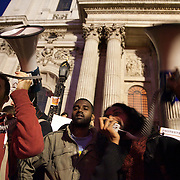 Facillitators of the the People's Assembly. The London Stock Exchange was attempted occypied in solidarity with Occupy Wall in Street in New York and in protest againts the economic climate, blamed by many on the banks. Police managed to keep people away fro the Patornoster Sqaure and the Stcok Exchange and thousands of protestors stayid in St. Paul's Square, outside St Paul's Cathedral. Many camped getting ready to spend the night in the square.