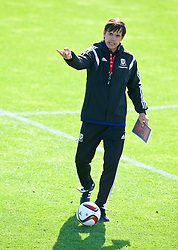 NEWPORT, WALES - Tuesday, October 7, 2014: Wales' manager Chris Coleman training at Dragon Park National Football Development Centre ahead of the UEFA Euro 2016 qualifying match against Bosnia and Herzegovina. (Pic by David Rawcliffe/Propaganda)
