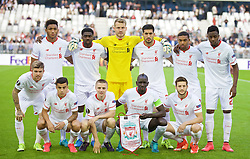 BORDEAUX, FRANCE - Thursday, September 17, 2015: Liverpool's players line up for a team group photograph before the UEFA Europa League Group Stage Group B match against FC Girondins de Bordeaux at the Nouveau Stade de Bordeaux. Front row L-R: Joe Gomez, Kolo Toure, goalkeeper Simon Mignolet, Emre Can, Jordon Ibe, Divock Origi. Front row L-R: Alberto Moreno, Philippe Coutinho Coreia, Jordan Rossiter, Mamadou Sakho, Adam Lallana. (Pic by David Rawcliffe/Propaganda)